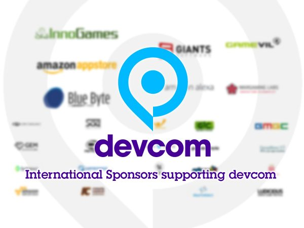 sponsor logo compilation with devcom logo overlay and headline